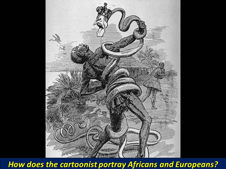 How does the cartoonist portray Africans and Europeans