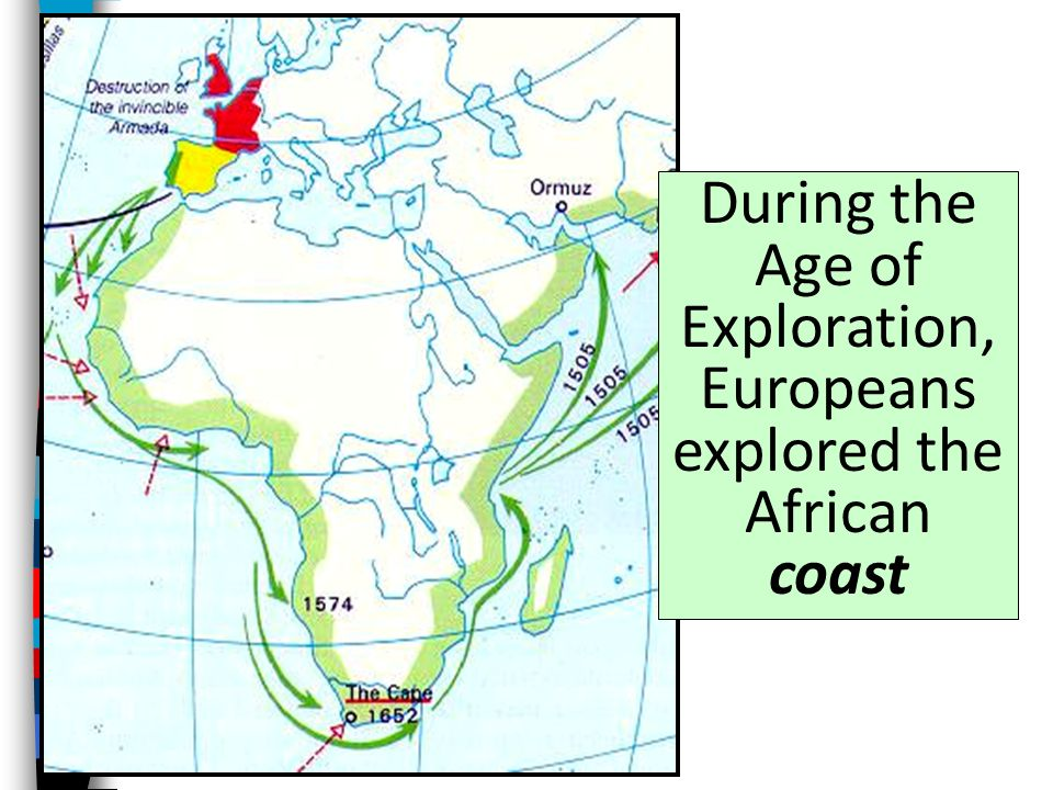 During the Age of Exploration, Europeans explored the African coast