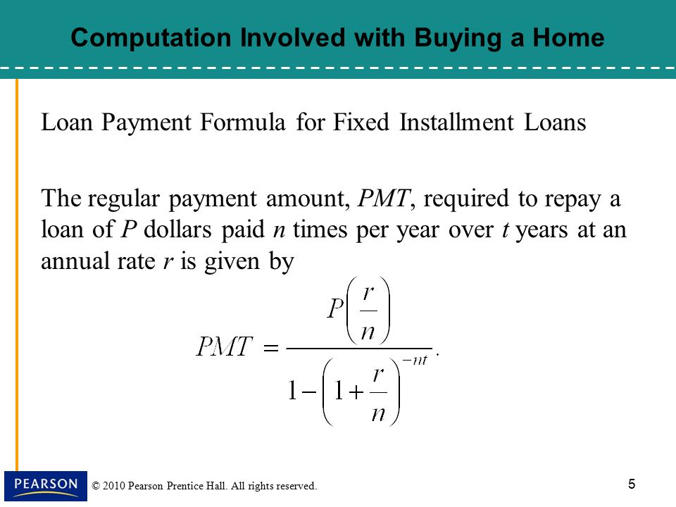 Monthly Payments Formula For Fixed Installment Loans