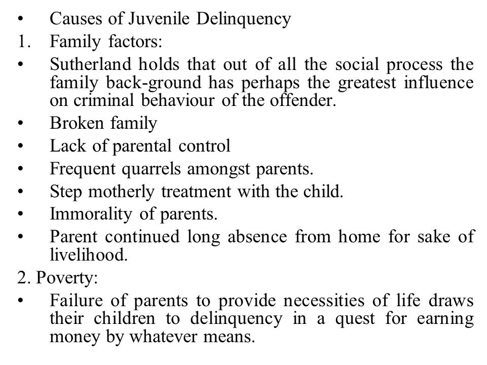 causes of juvenile delinquency essay