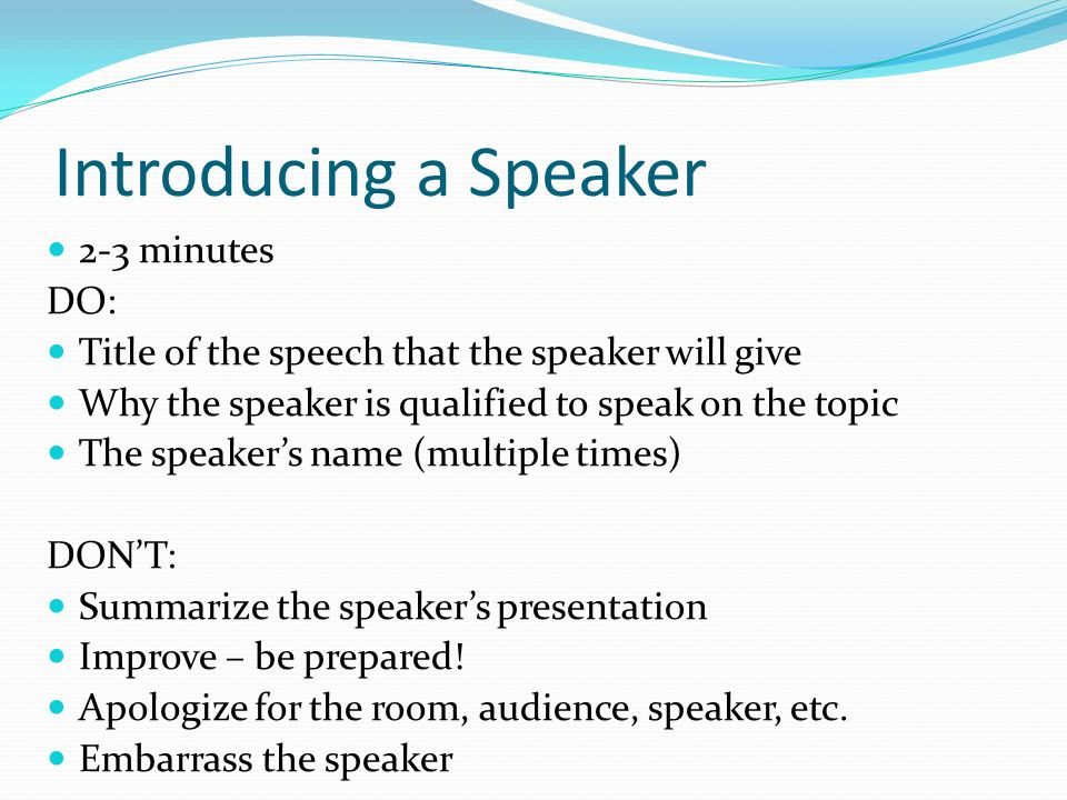 Special occasion speeches ppt video online download 10 introducing a speaker thecheapjerseys Gallery