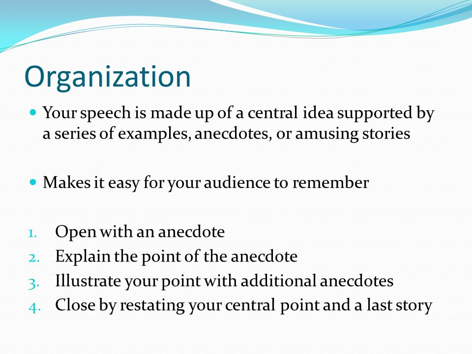 Anecdote Examples In Speeches