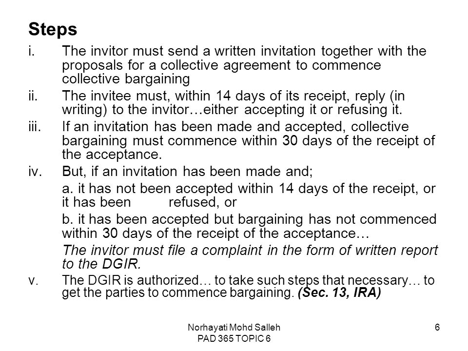 Topic 6 collective bargaining and collective agreement ppt video 6 norhayati stopboris Choice Image