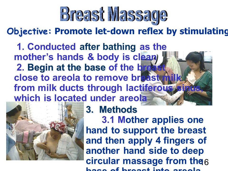 16 Breast Massage Objective: Promote let-down ...