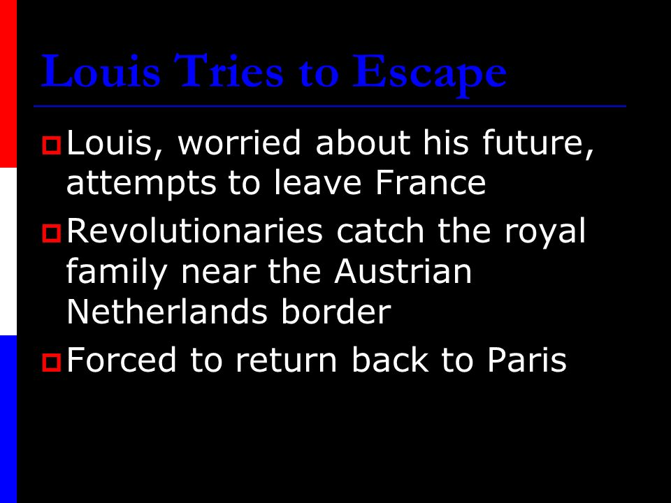Louis Tries to Escape Louis, worried about his future, attempts to leave France.