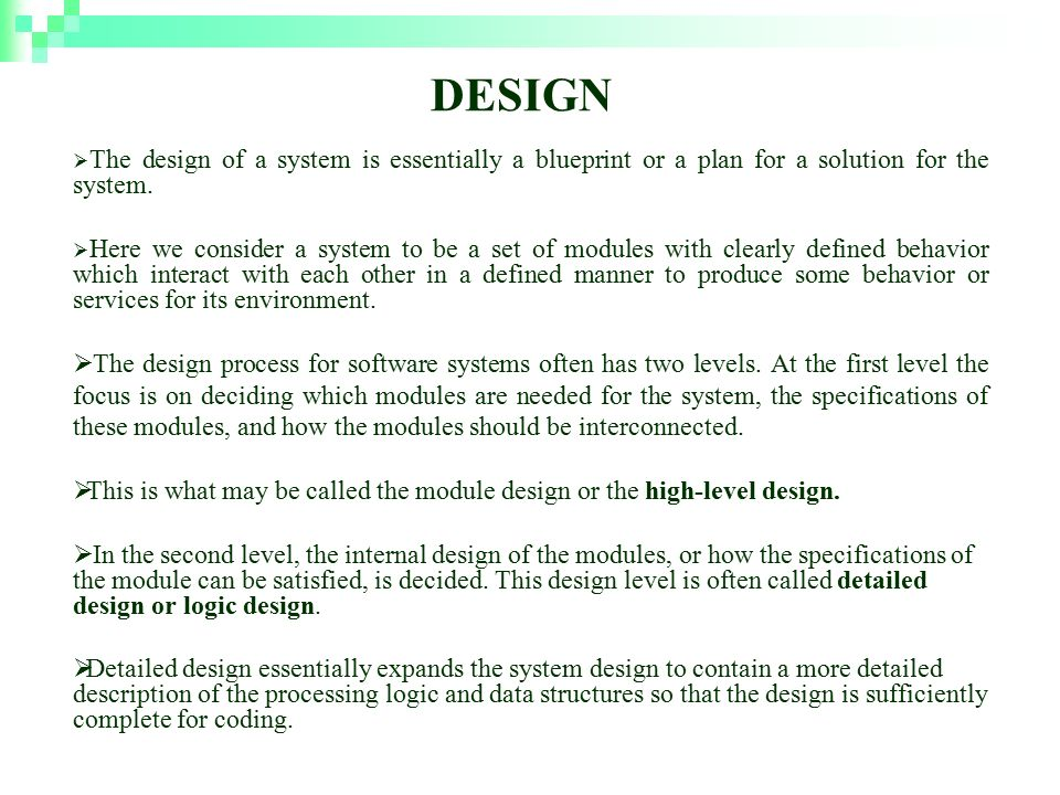 Software design rajika tandon ppt video online download design the design of a system is essentially a blueprint or a plan for a solution malvernweather Choice Image