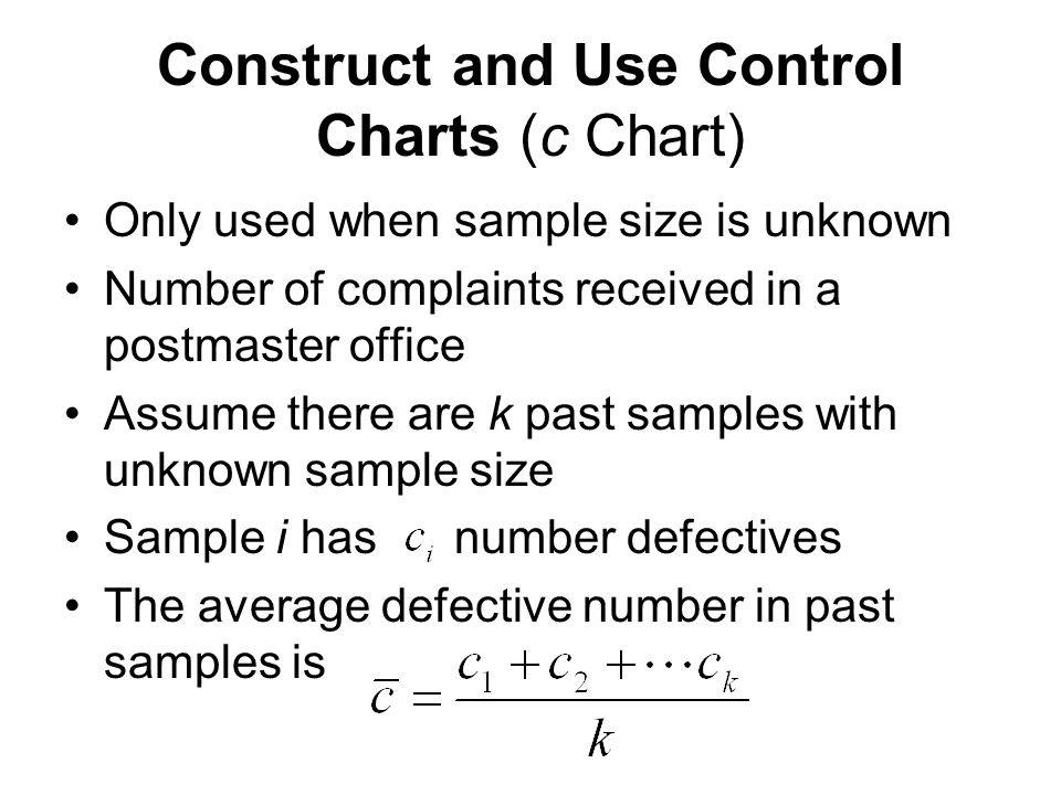 Construct And Use Control Charts C Chart