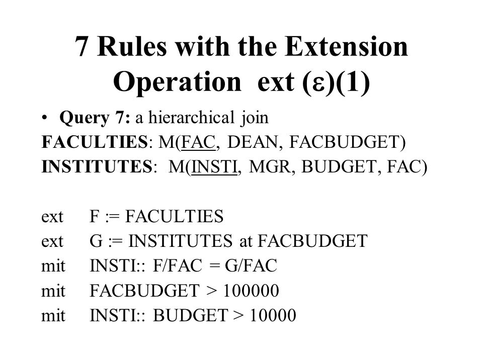 7 Rules with the Extension Operation ext ()(1)