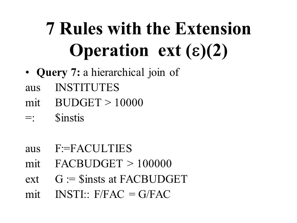 7 Rules with the Extension Operation ext ()(2)