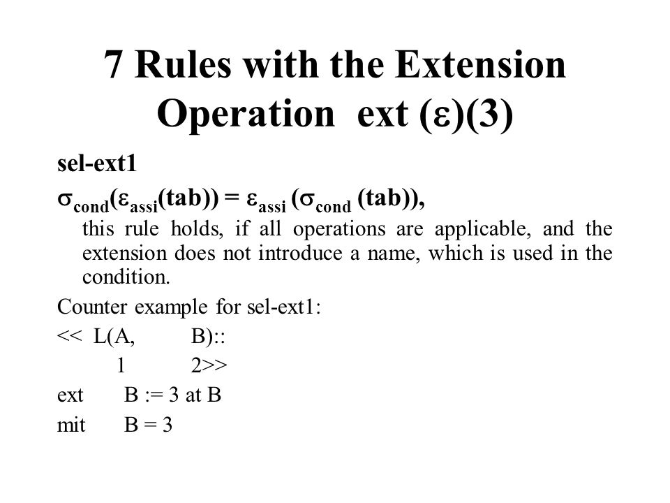 7 Rules with the Extension Operation ext ()(3)