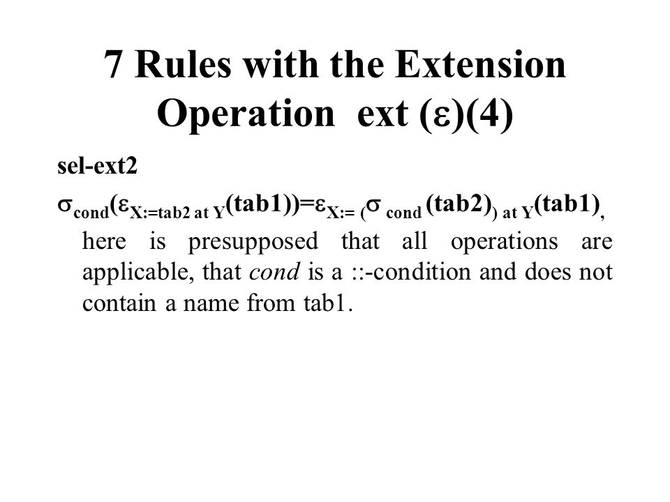 7 Rules with the Extension Operation ext ()(4)