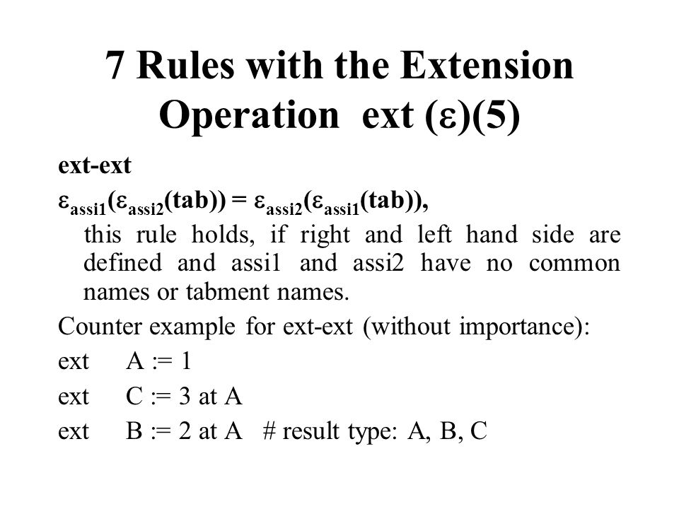 7 Rules with the Extension Operation ext ()(5)