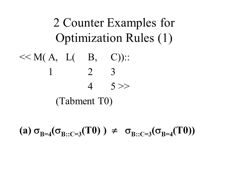 2 Counter Examples for Optimization Rules (1)