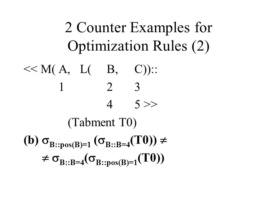 2 Counter Examples for Optimization Rules (2)
