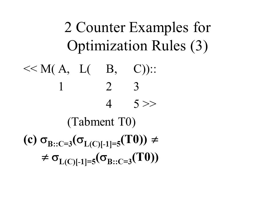 2 Counter Examples for Optimization Rules (3)