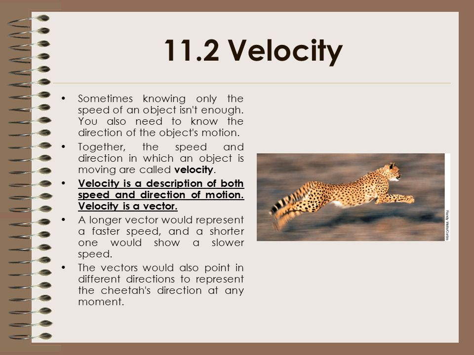 11.2 Velocity Sometimes knowing only the speed of an object isn t enough. You also need to know the direction of the object s motion.
