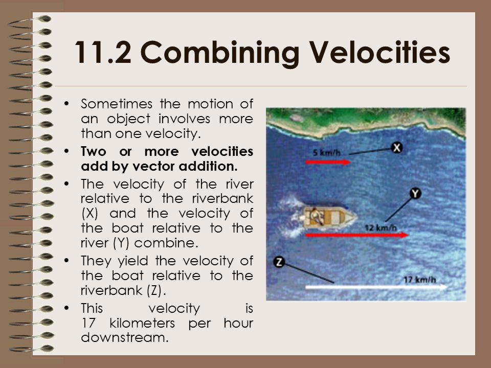 11.2 Combining Velocities Sometimes the motion of an object involves more than one velocity. Two or more velocities add by vector addition.
