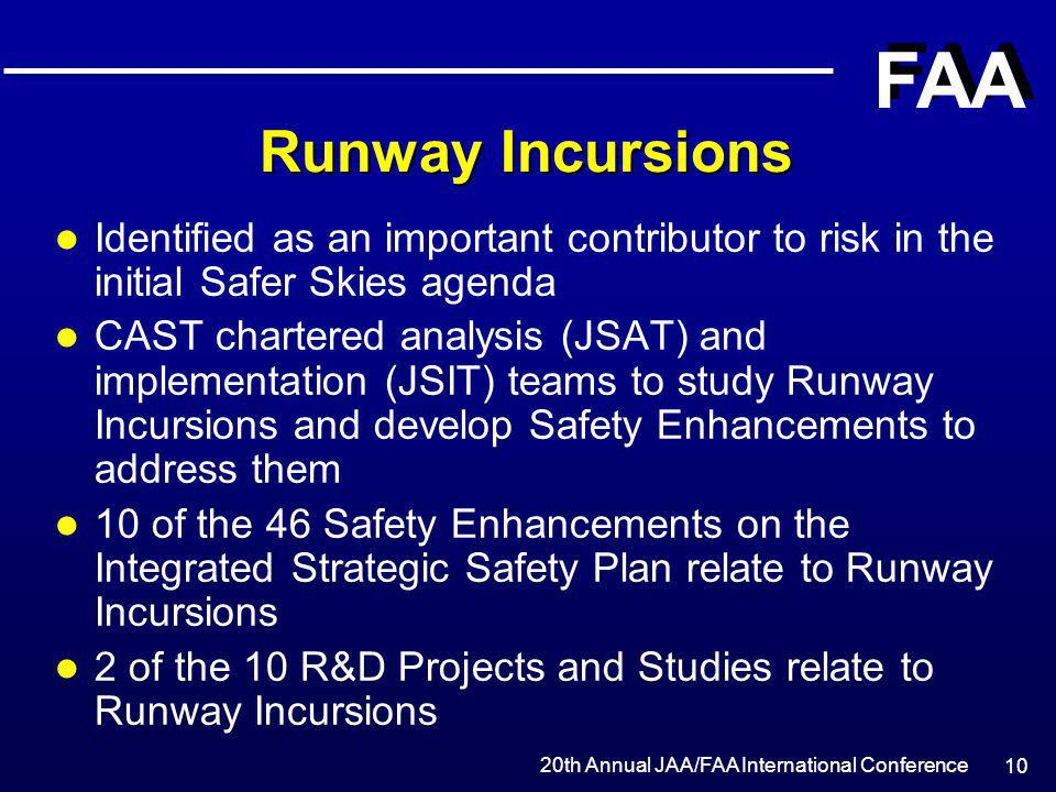 Runway Incursions Identified as an important contributor to risk in the initial Safer Skies agenda.
