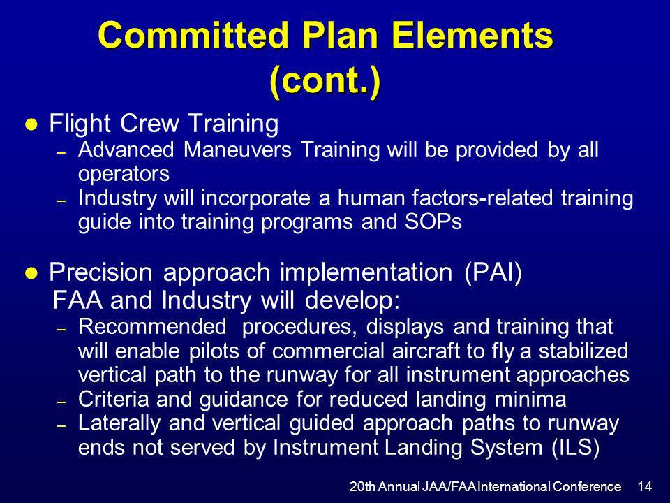 Committed Plan Elements (cont.)