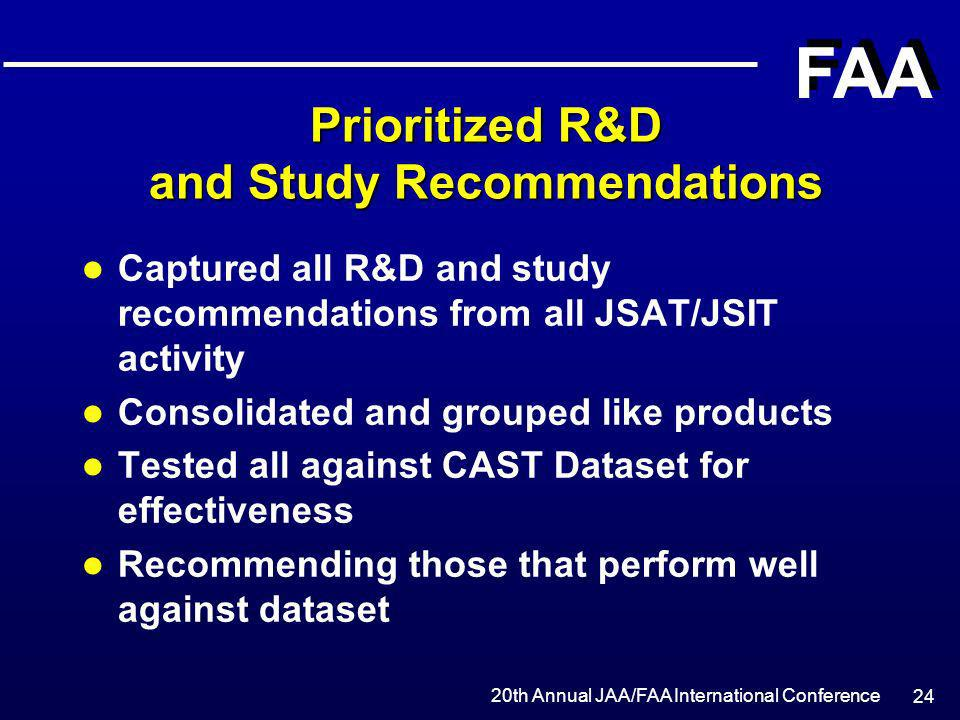 Prioritized R&D and Study Recommendations
