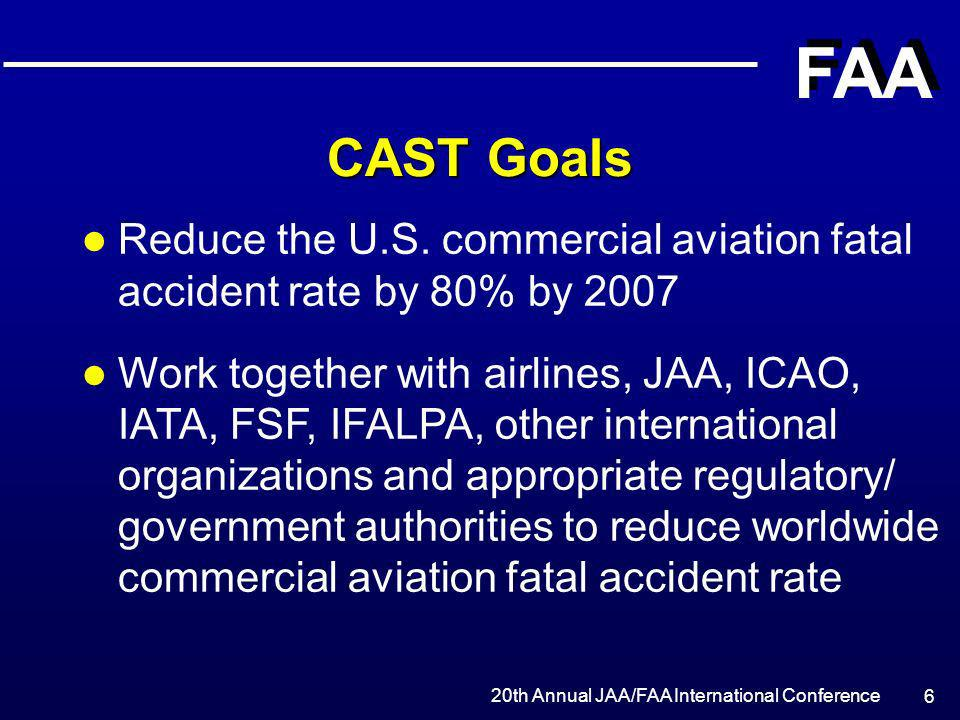 CAST Goals Reduce the U.S. commercial aviation fatal accident rate by 80% by 2007.