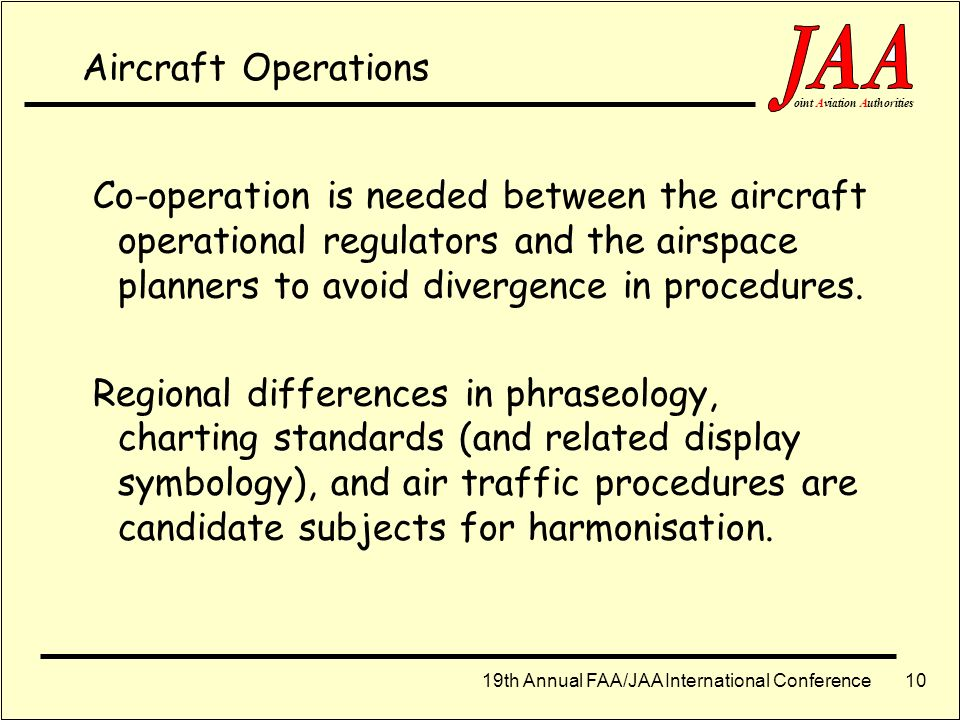 Aircraft Operations Co-operation is needed between the aircraft operational regulators and the airspace planners to avoid divergence in procedures.