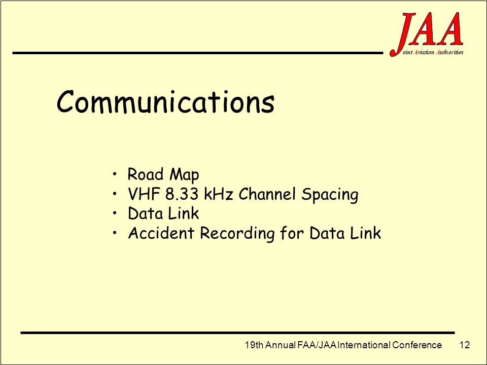 Communications Road Map VHF 8.33 kHz Channel Spacing Data Link