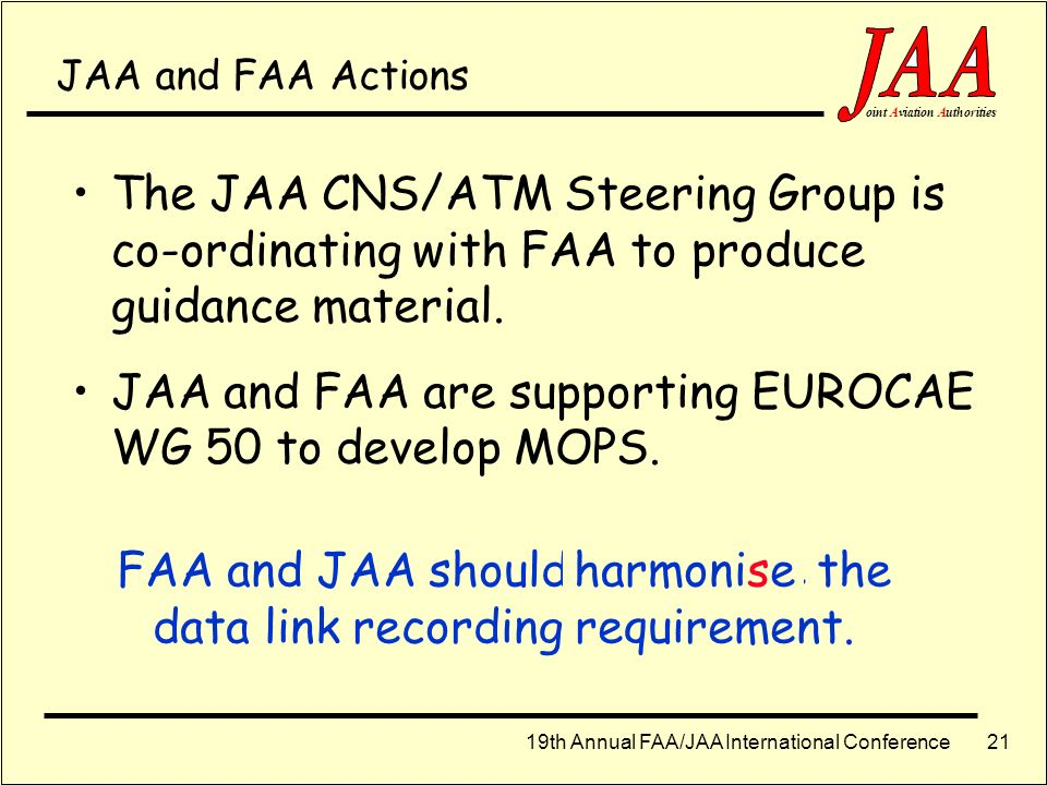 FAA and JAA should harmonize the data link recording requirement.