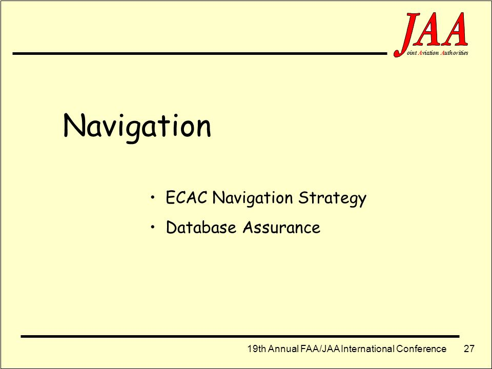 Navigation ECAC Navigation Strategy Database Assurance