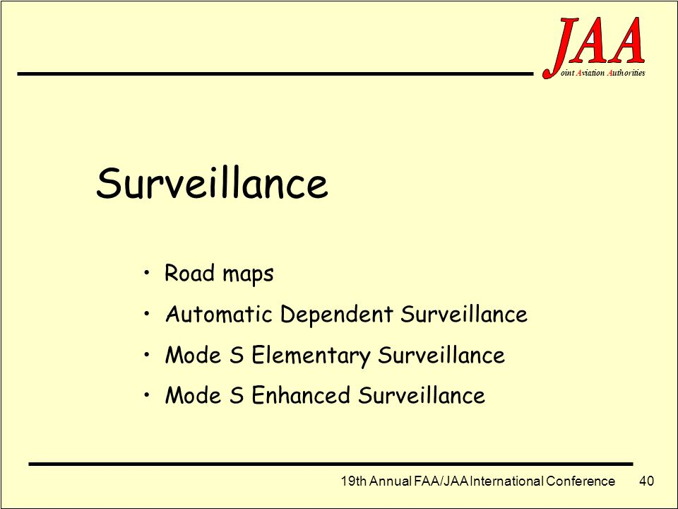 Surveillance Road maps Automatic Dependent Surveillance