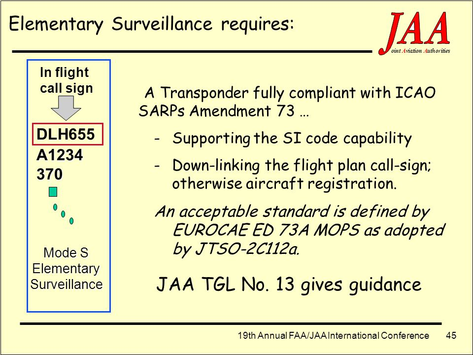 JAA TGL No. 13 gives guidance