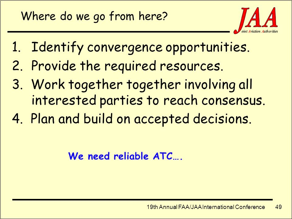 Identify convergence opportunities. Provide the required resources.