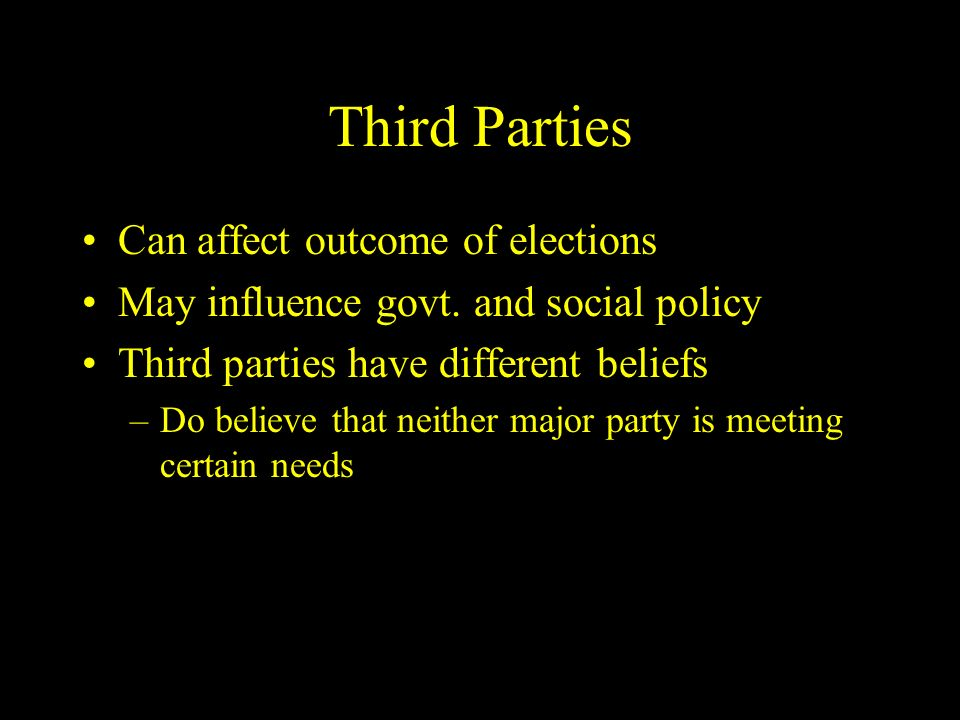 Third Parties Can affect outcome of elections