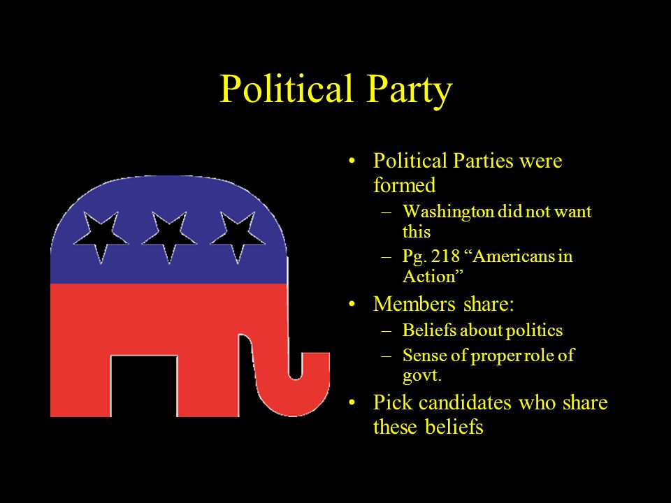 Political Party Political Parties were formed Members share: