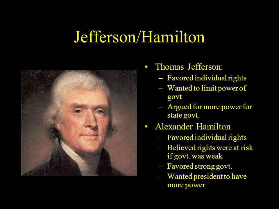 Jefferson/Hamilton Thomas Jefferson: Alexander Hamilton