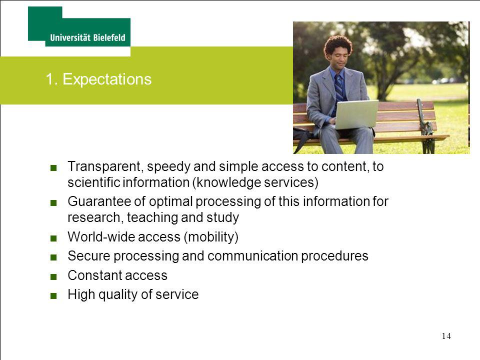 1. Expectations Transparent, speedy and simple access to content, to scientific information (knowledge services)