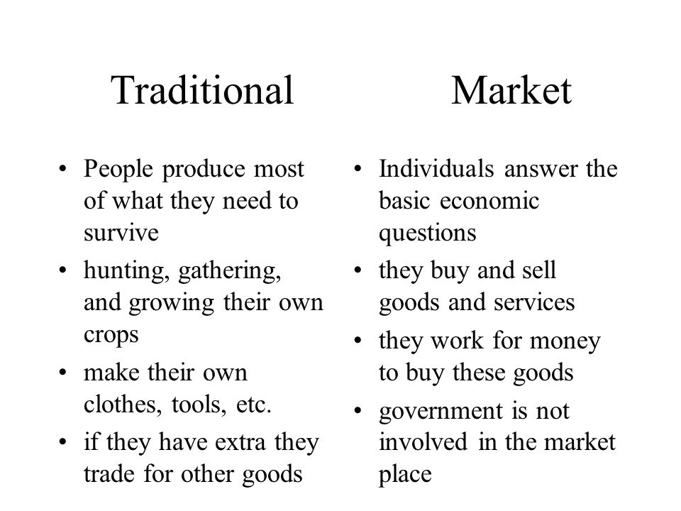Traditional Market People produce most of what they need to survive