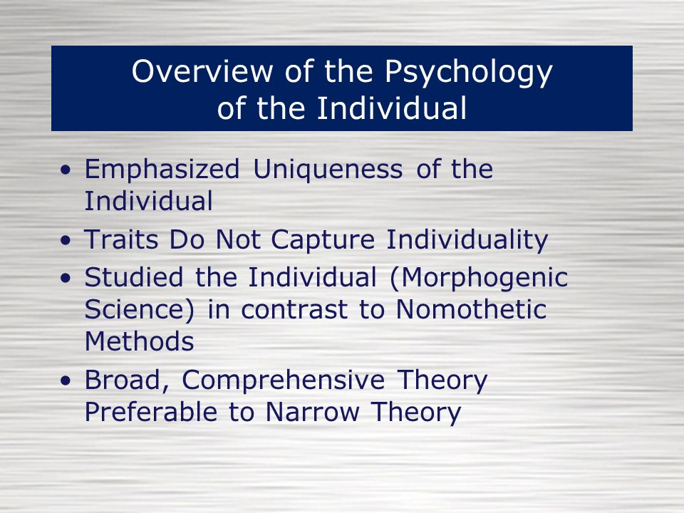 allport psychology of the individual theory