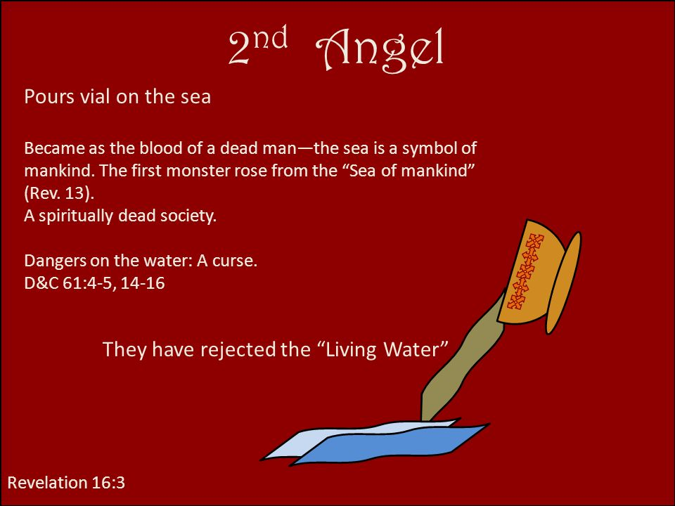 2nd Angel Pours vial on the sea They have rejected the Living Water