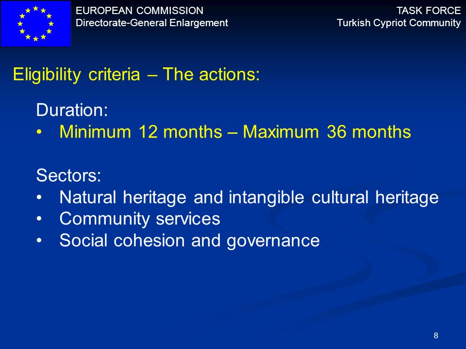 Eligibility criteria – The actions:
