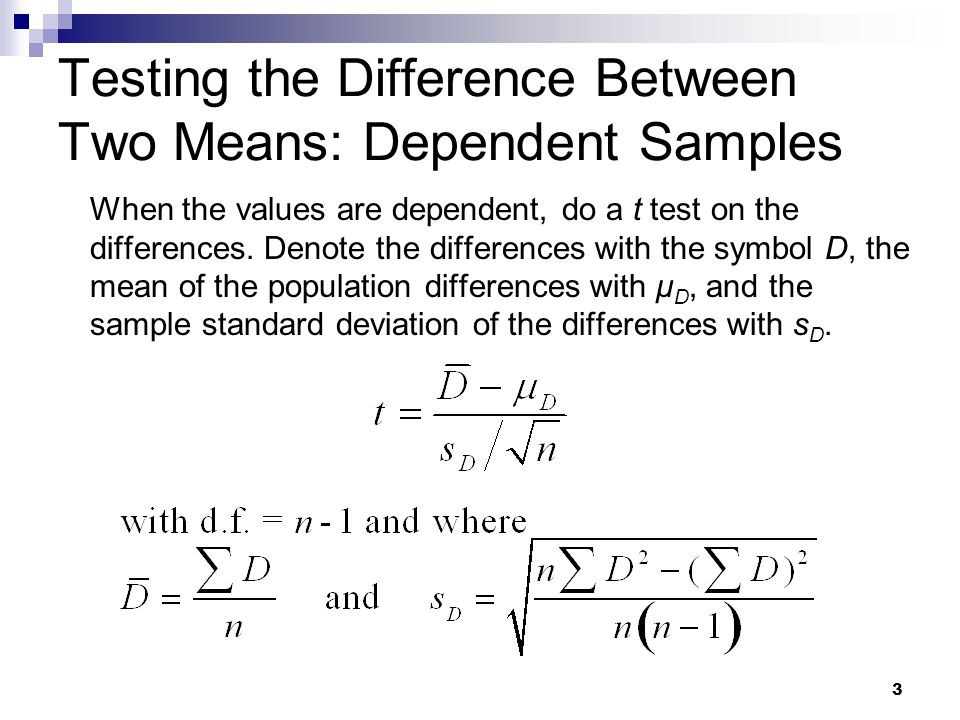 an analysis of the difference between two means The standard deviation of sampling distribution of differences between two means, ie x͞1 - x͞2 is also called as the standard error of x͞1 - x͞2 and is denoted by: since, x͞1 and x͞2 are the independent random variables, so the variance of their difference is equal to the sum of their variance.