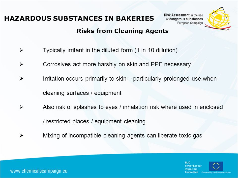 HAZARDOUS SUBSTANCES IN BAKERIES Risks from Cleaning Agents
