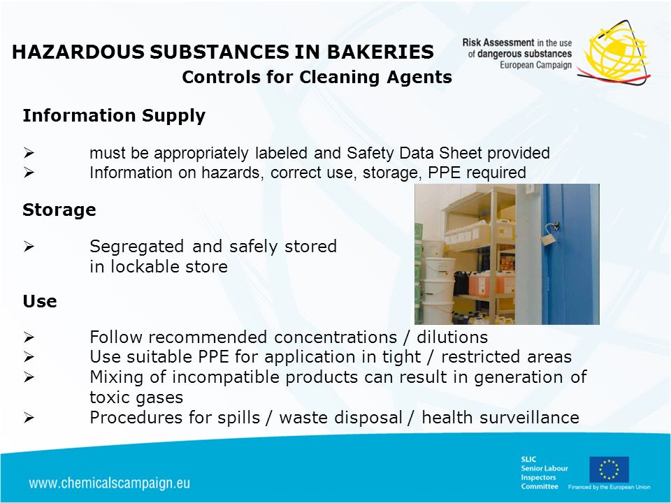 HAZARDOUS SUBSTANCES IN BAKERIES Controls for Cleaning Agents