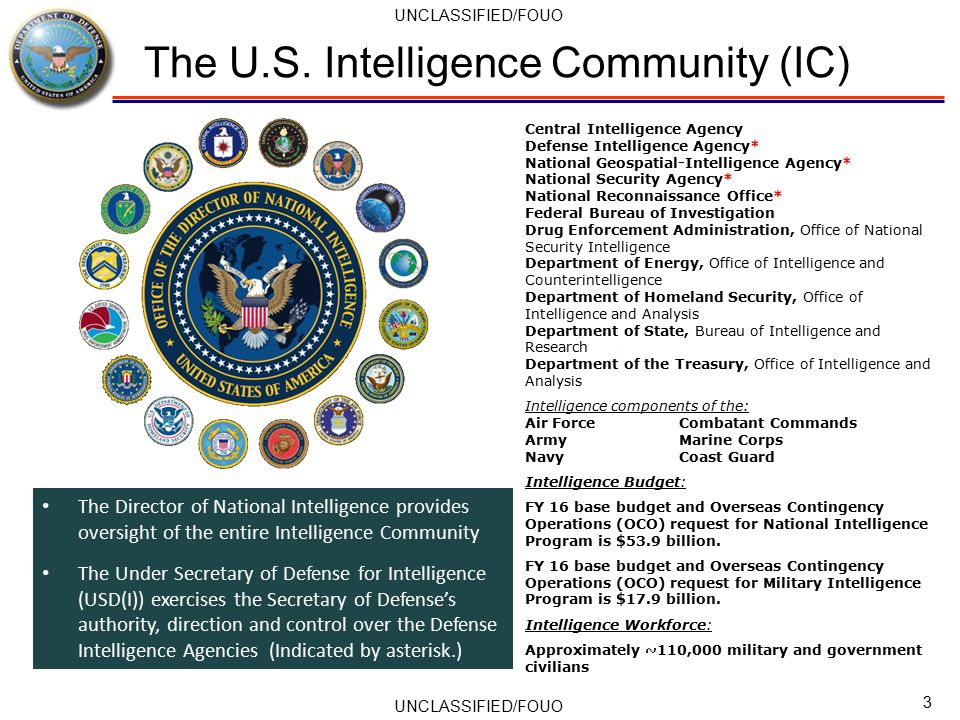 comparing the national intelligence program The intelligence community the dni serves as the head of the intelligence community the us intelligence community is a coalition of 17 agencies and organizations, including the odni, within the executive branch that work both independently and collaboratively to gather and analyze the intelligence necessary to conduct foreign relations and national security activities.