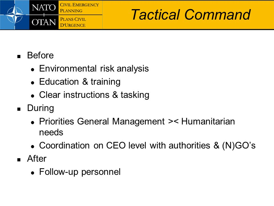Tactical Command Before Environmental risk analysis