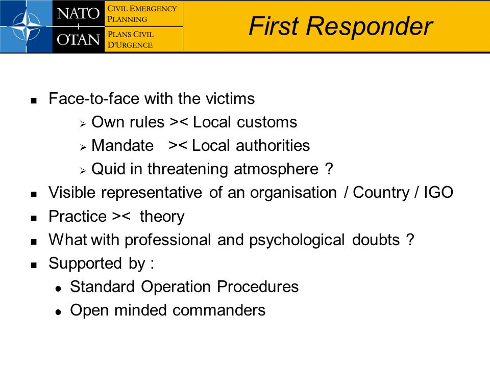 First Responder Face-to-face with the victims