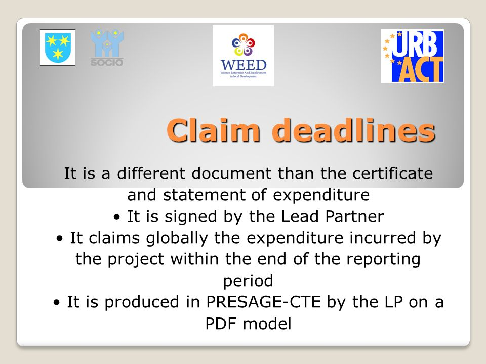 Claim deadlines It is a different document than the certificate