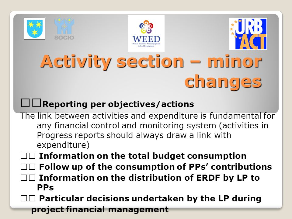 Activity section – minor changes