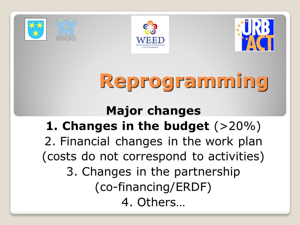 Reprogramming Major changes 1. Changes in the budget (>20%)