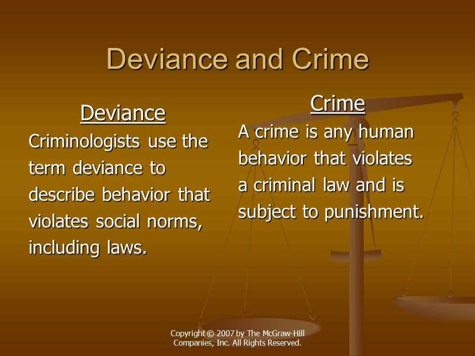 Deviance and Crime Crime Deviance A crime is any human